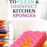 These are the 10 best ways to clean and disinfect kitchen sponges. To reduce the growth of bacteria that is the leading cause of a smelly kitchen sponge, it's recommended you throw your sponge out every two weeks. These 10 absolutely easy ways to clean a smelly kitchen sponge will keep your sponges smelling fresh as the day you bought them.