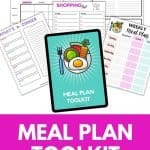 Printable Meal Plan Toolkit. Do you struggle with trying to maintain a weekly meal plan? This bundle will save you tons of time and frustration.