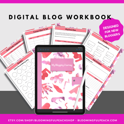 If you're a new blogger and don't know where to start, this digital planner is designed for new bloggers. This digital blogging workbook will help you determine what email provider, branding, theme, host, platform and so much more. This digital planner is perfect for new bloggers and those who are considering blogging.