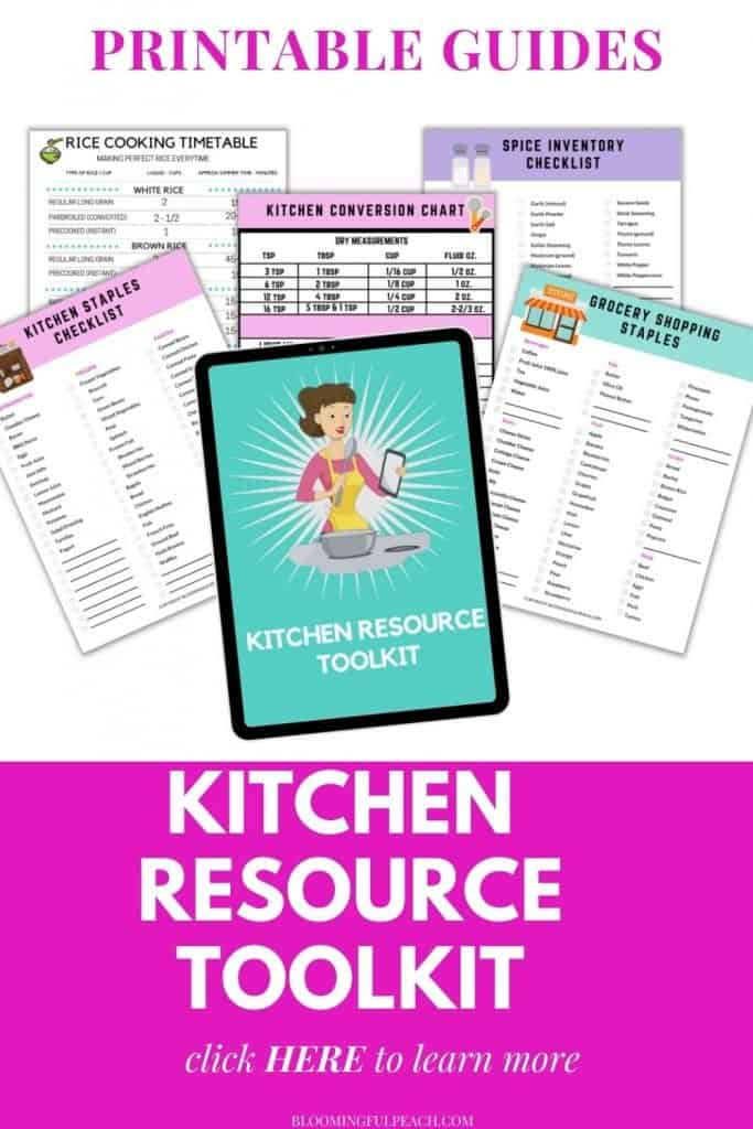Printable kitchen resource guide. Every great homemaker needs a great kitchen resource guide handy at all times. This tool kit will help save you money on groceries by knowing what you always have on hand.